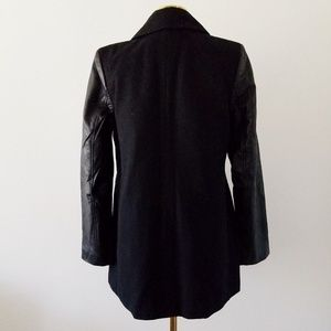 American Eagle Outfitters Jackets & Coats - AE Small Black Vegan Leather Wool Moto Peacoat